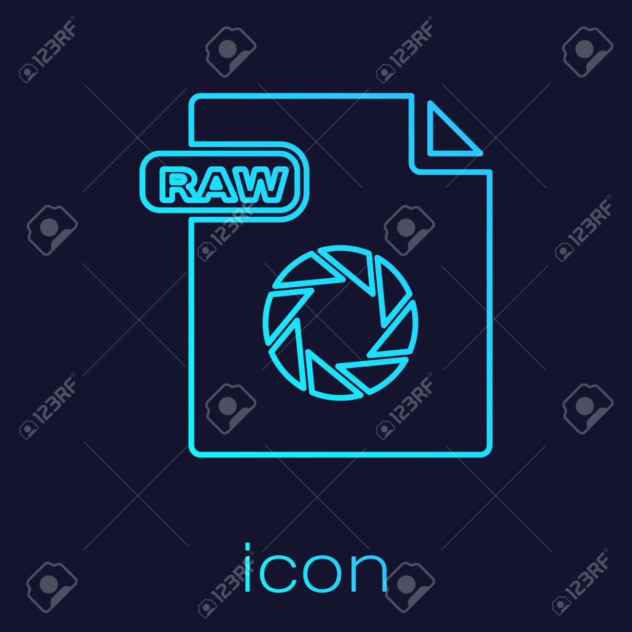 Turquoise line RAW file document  Download raw button icon isolated