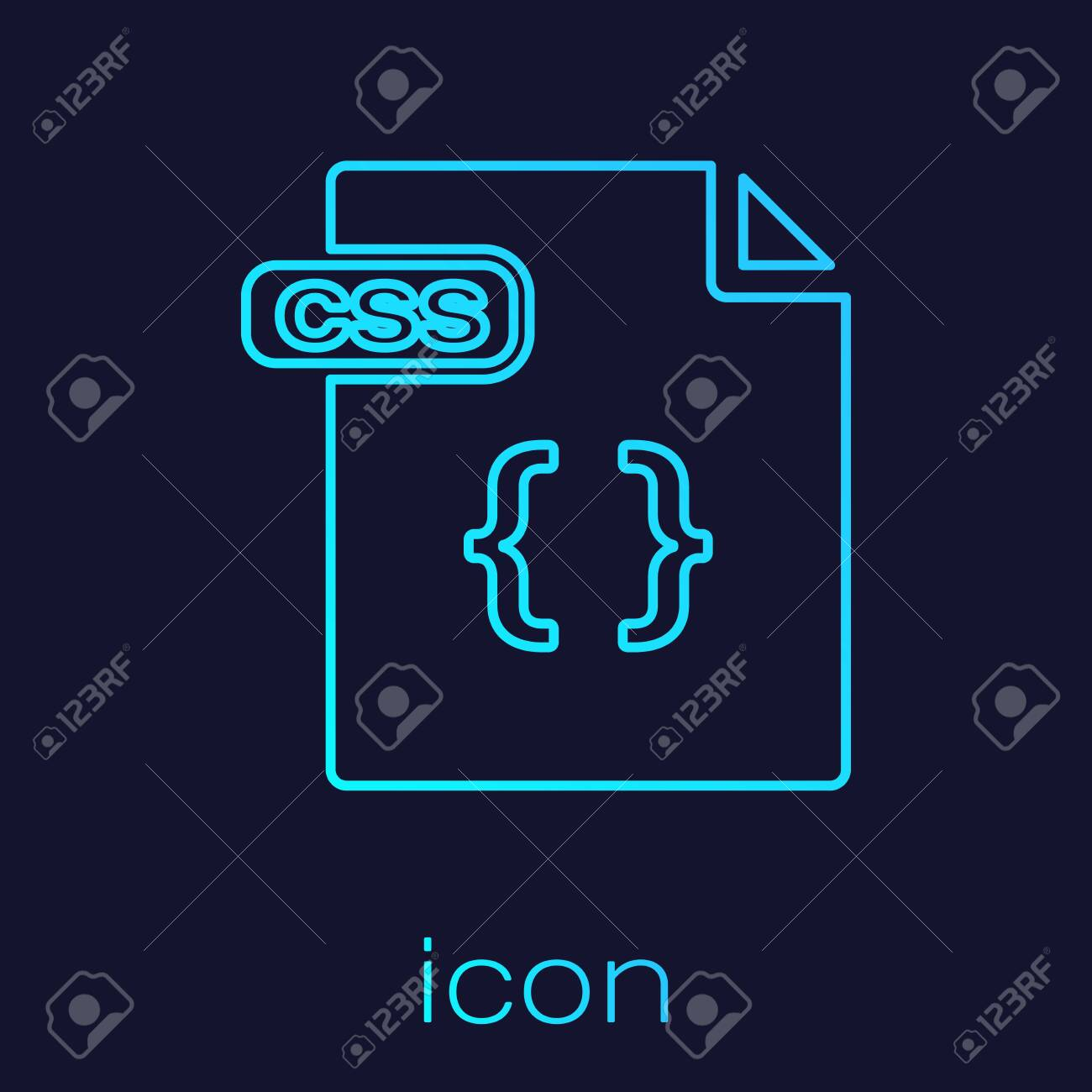 Turquoise line CSS file document  Download css button icon isolated