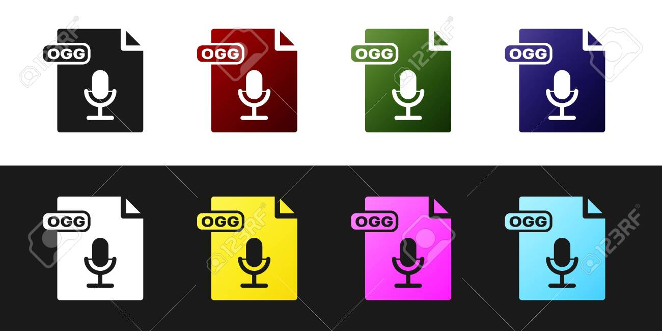 Set OGG file document  Download ogg button icon isolated on black