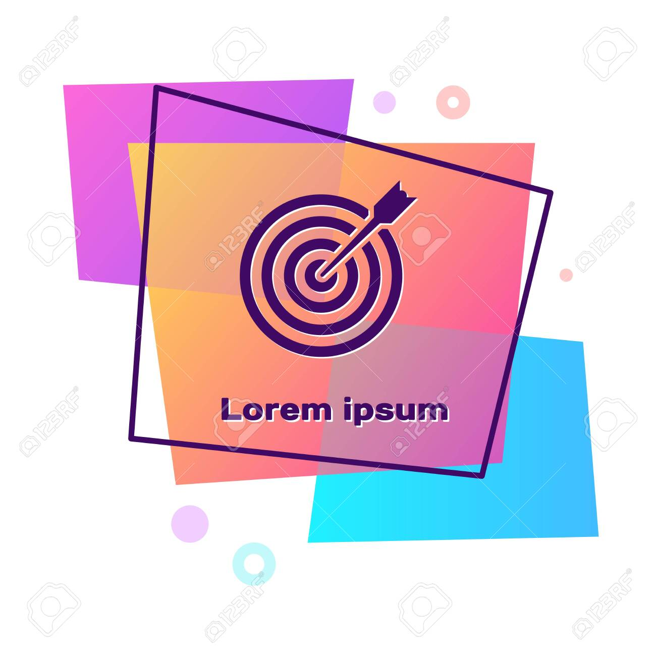 Purple Target with arrow icon isolated on white background. Dart board sign. Archery board icon. Dartboard sign. Business goal concept. Color rectangle button. Vector Illustration - 128656435