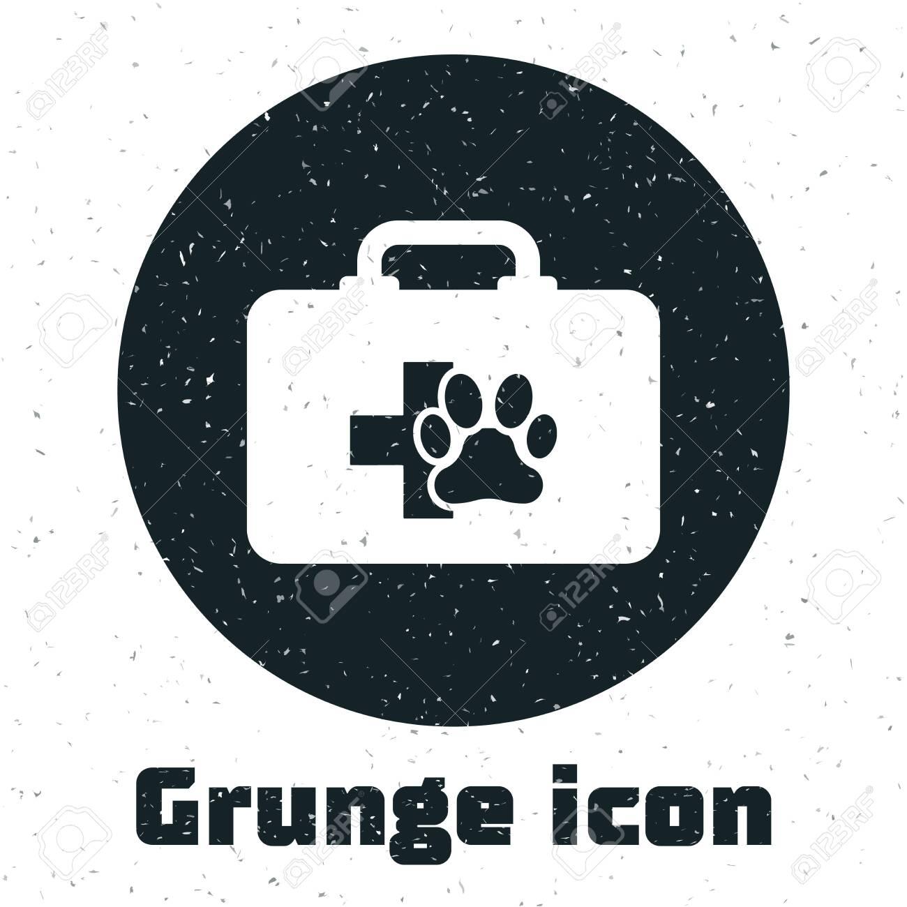 Grunge Pet first aid kit icon isolated on white background  Dog