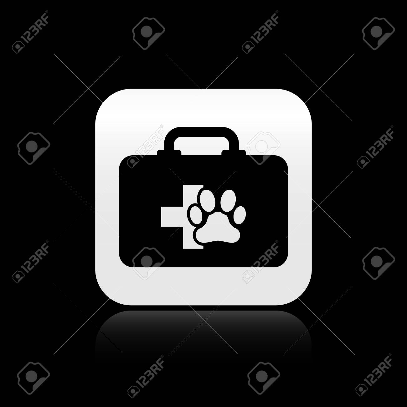 Black Pet first aid kit icon isolated on black background  Dog