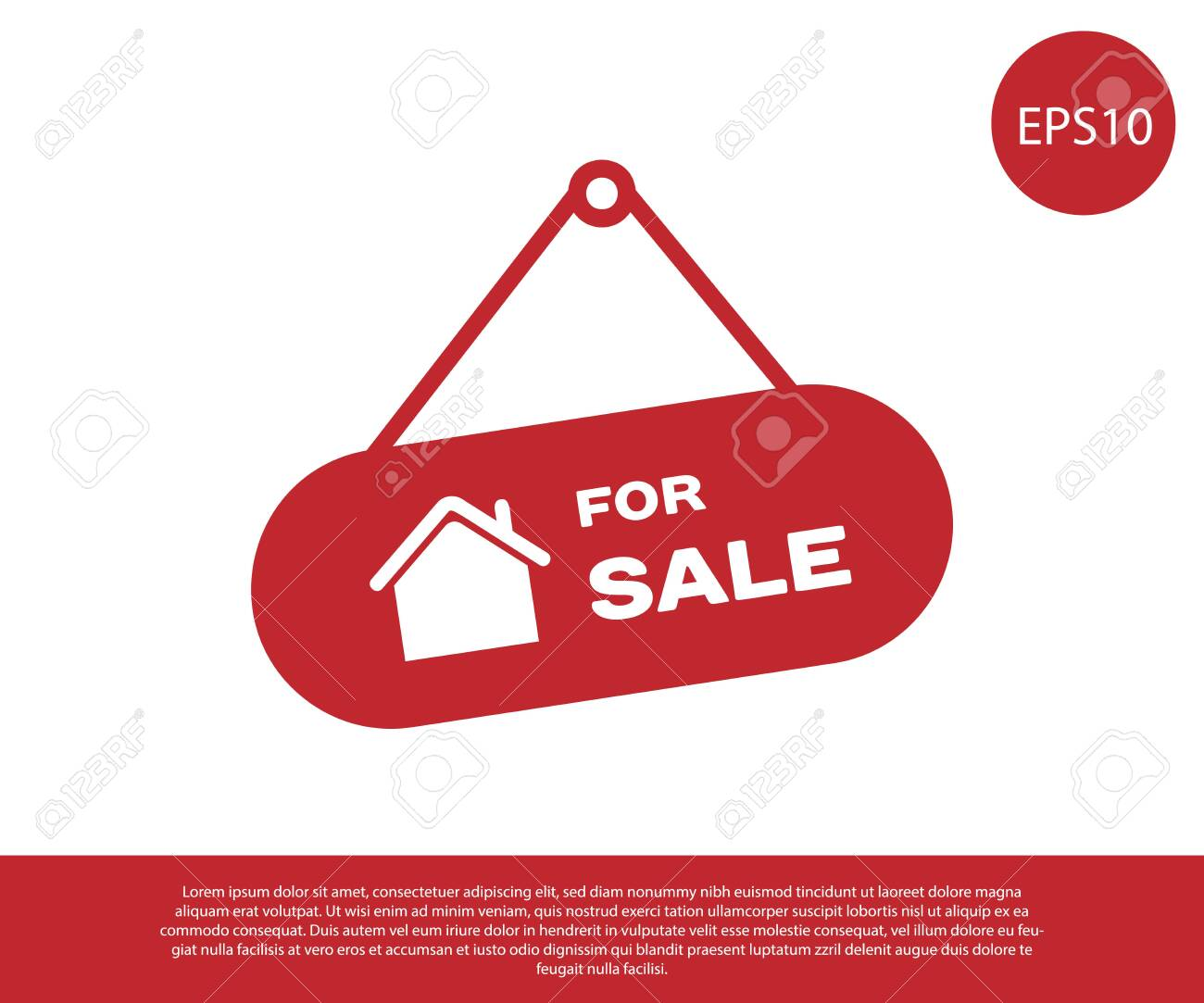 Red Hanging sign with text For Sale icon isolated on white background. Signboard with text For Sale. Vector Illustration - 129222787