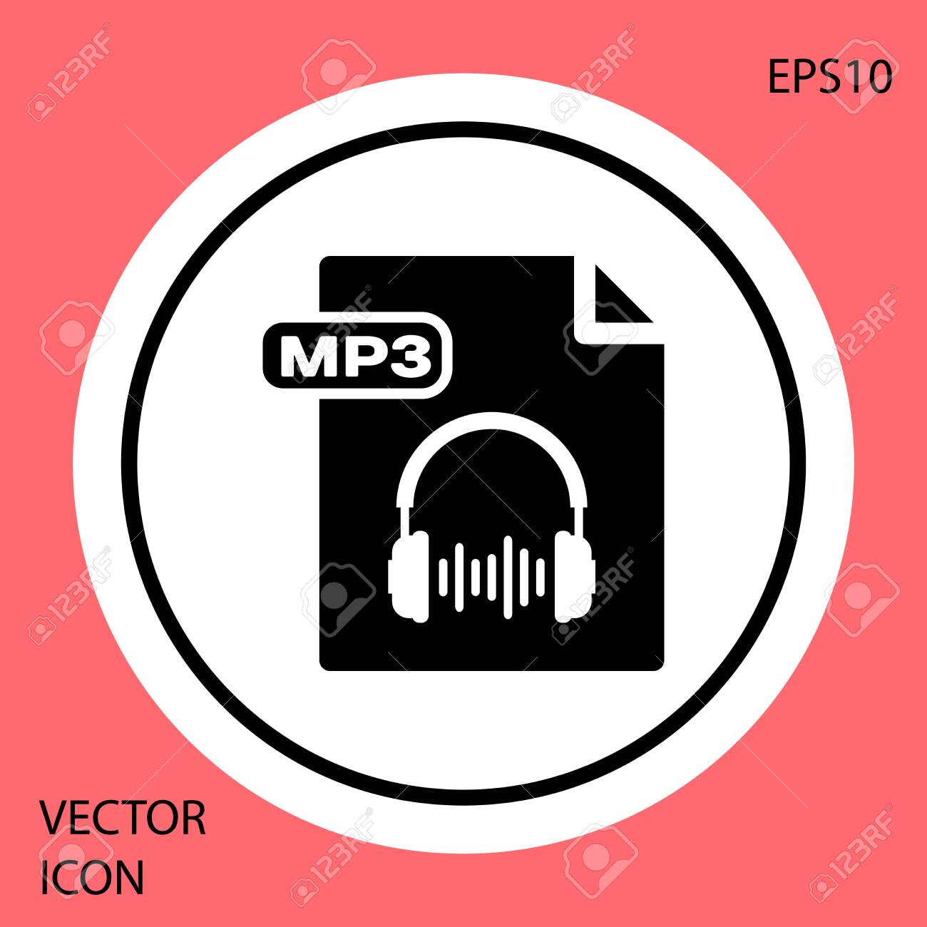 Black Mp File Document Download Mp Button Icon Isolated On