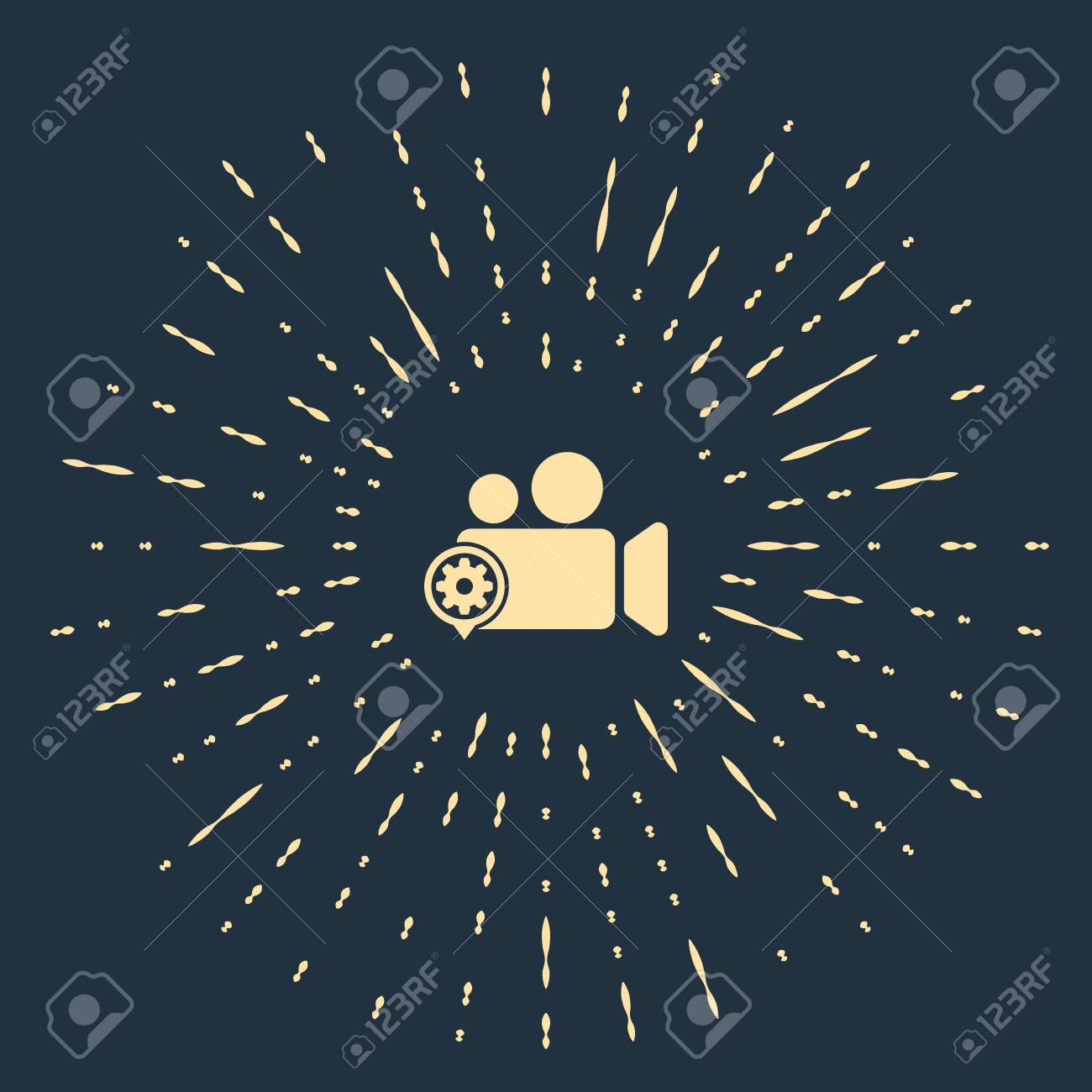 Beige Movie Or Video Camera And Gear Icon On Dark Blue Background Royalty Free Cliparts Vectors And Stock Illustration Image 129541484