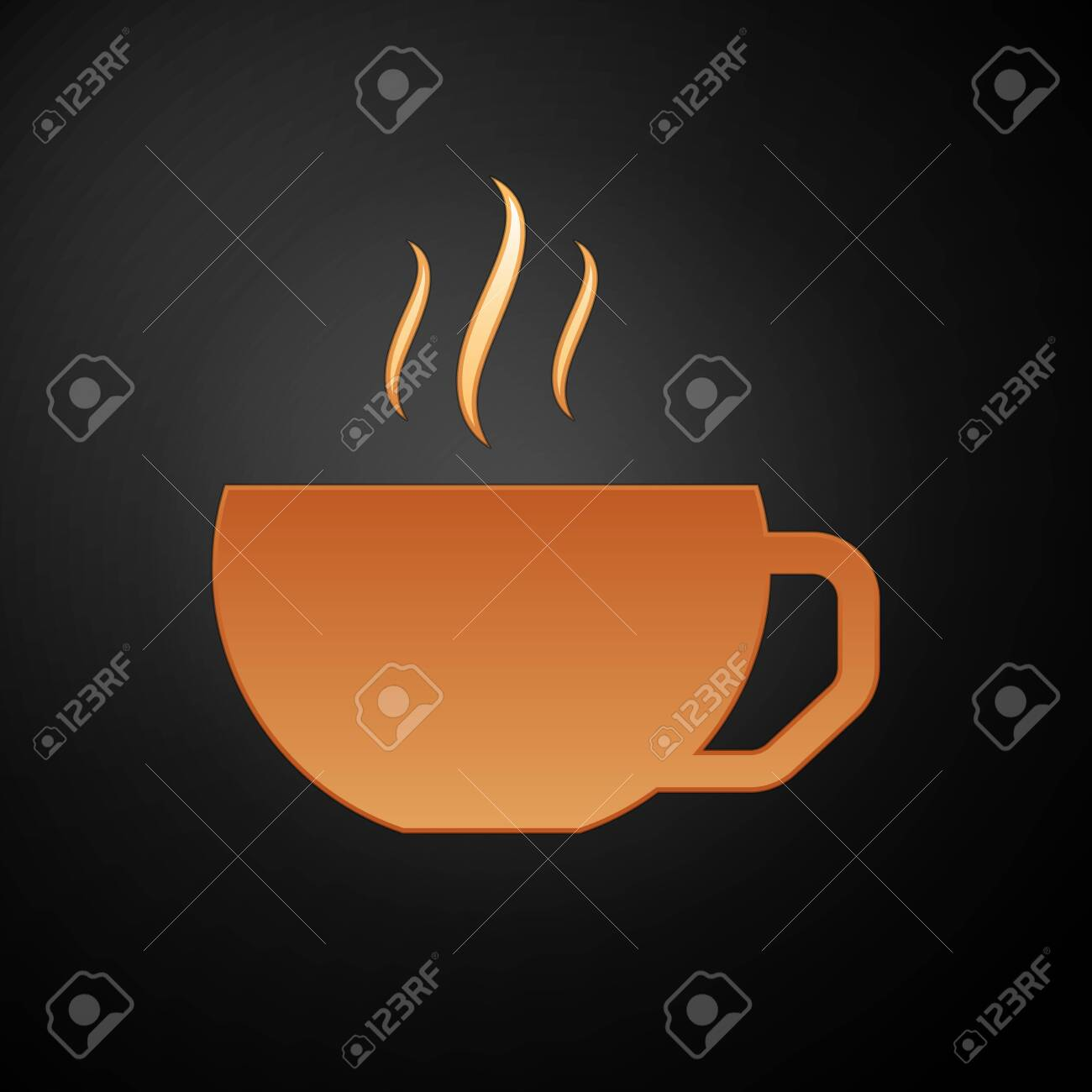 gold coffee cup flat icon isolated on black background tea cup royalty free cliparts vectors and stock illustration image 129872511 gold coffee cup flat icon isolated on black background tea cup
