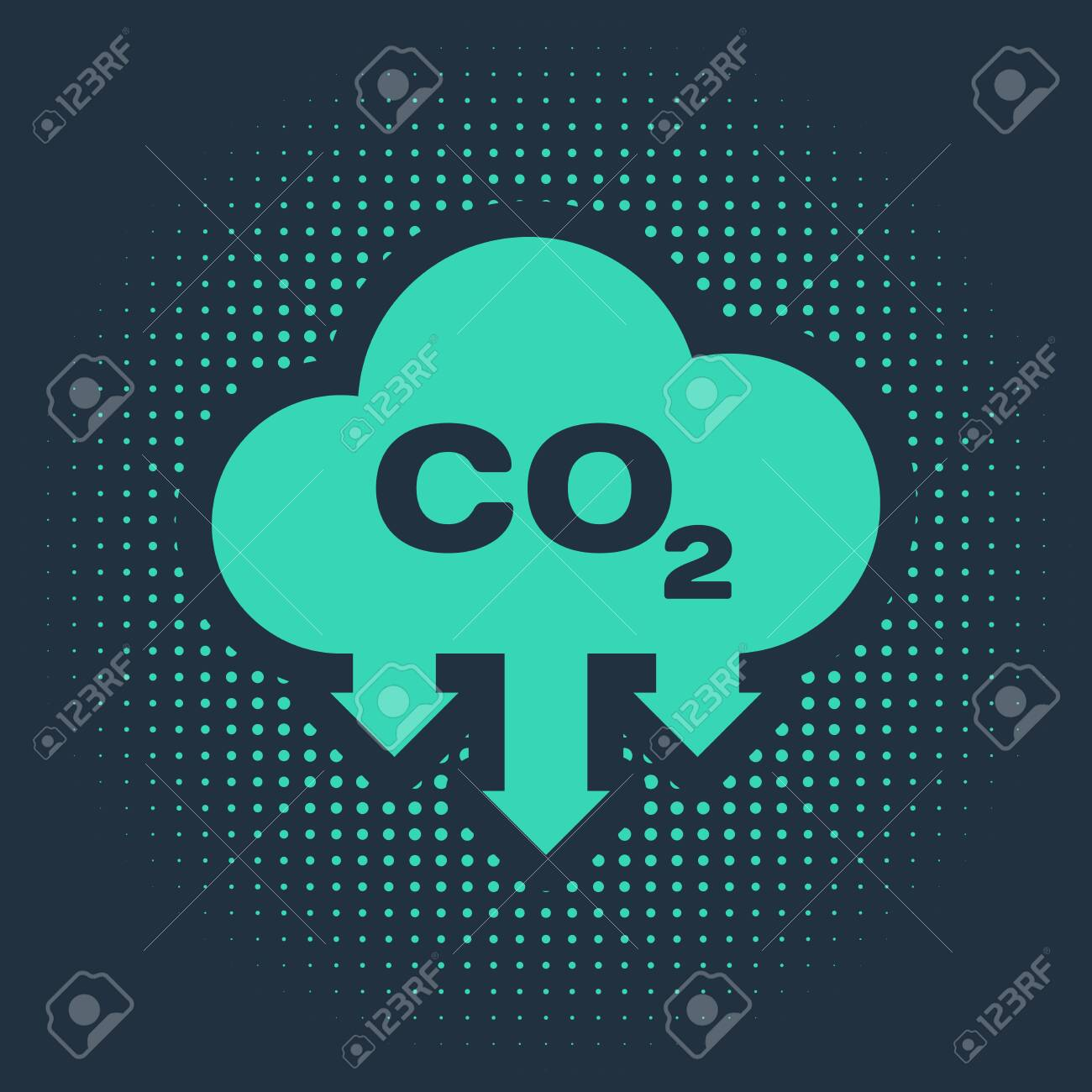Green CO2 emissions in cloud icon isolated on blue background. Carbon dioxide formula symbol, smog pollution concept, environment concept. Abstract circle random dots. Vector Illustration - 134169317