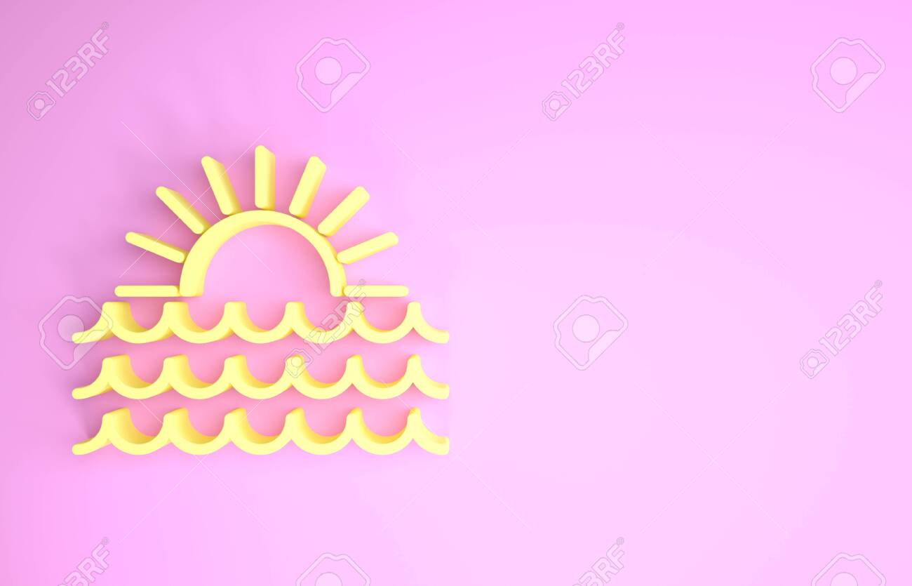 yellow sunset icon isolated on pink background minimalism concept stock photo picture and royalty free image image 134594320 123rf com