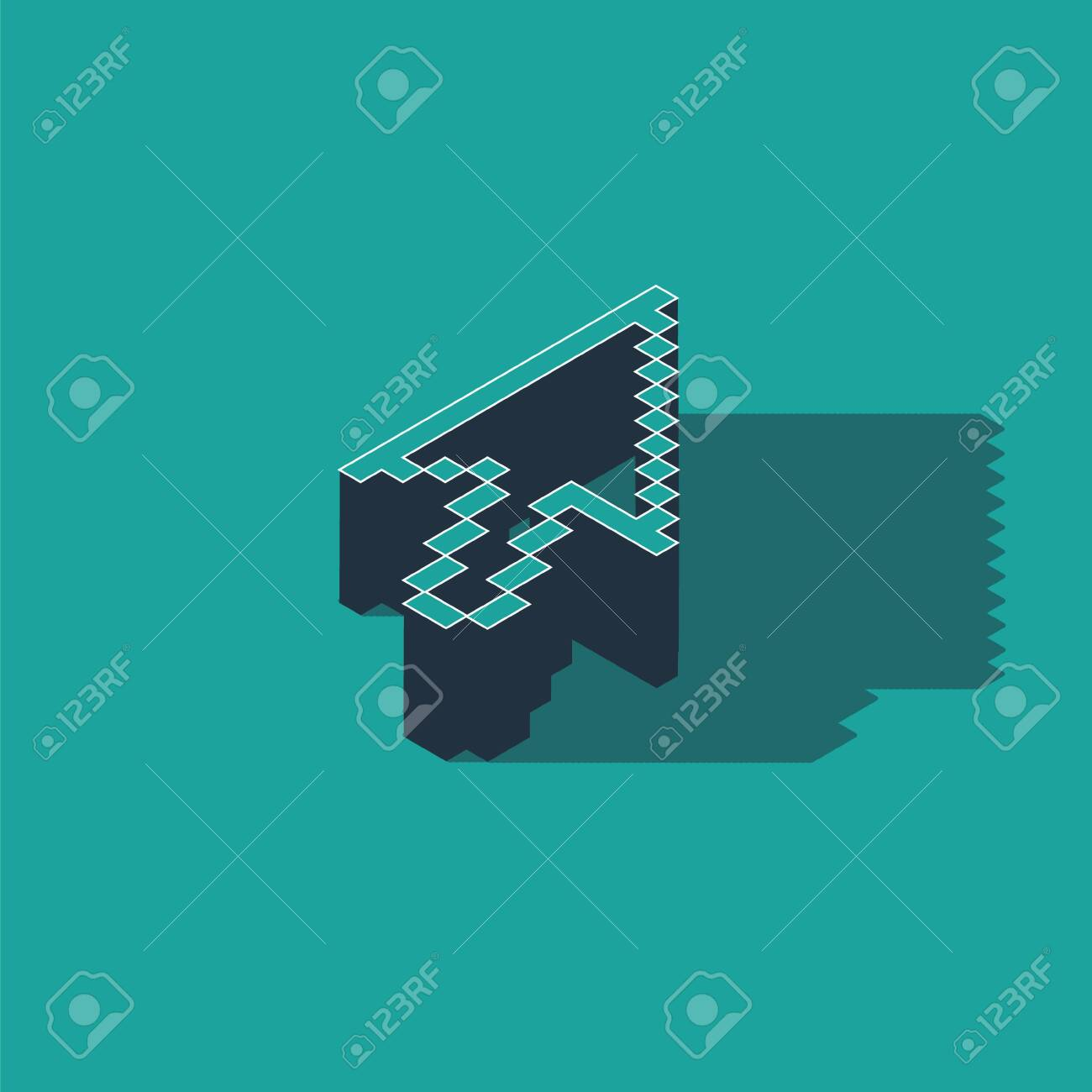 Isometric Pixel arrow cursor icon isolated on green background. Vector Illustration - 134788218