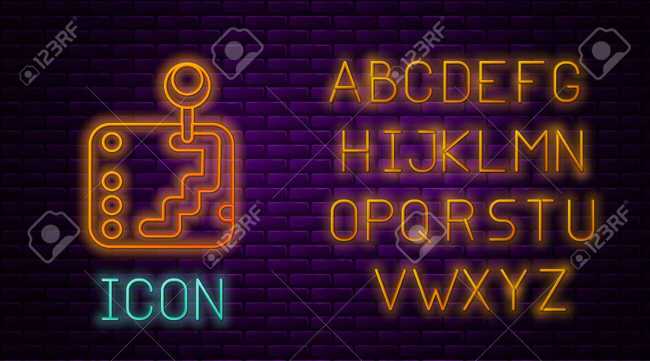 Glowing Neon Line Gear Shifter Icon Isolated On Brick Wall Background Royalty Free Cliparts Vectors And Stock Illustration Image 136758325