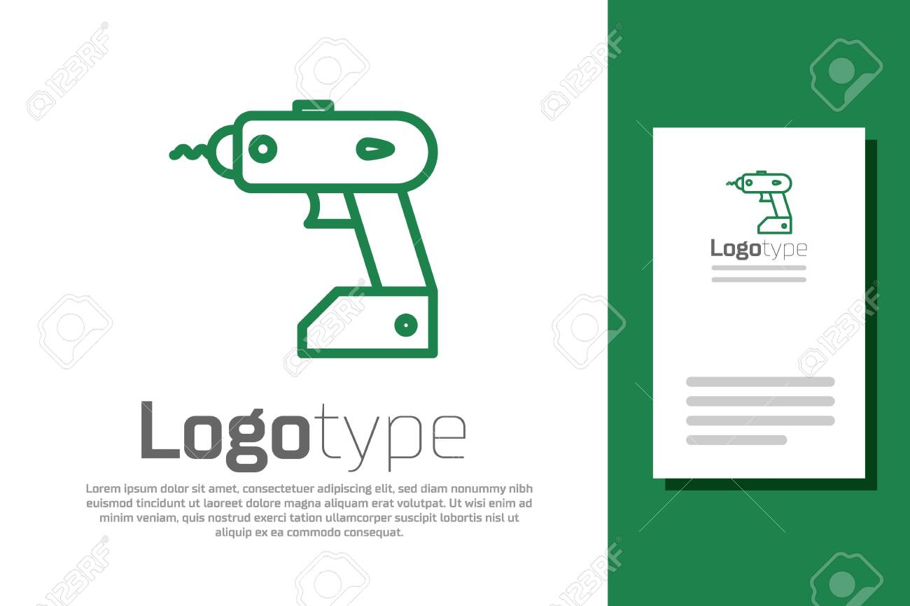 Green line Electric cordless screwdriver icon isolated on white background. Electric drill machine. Repair tool. - 137313395