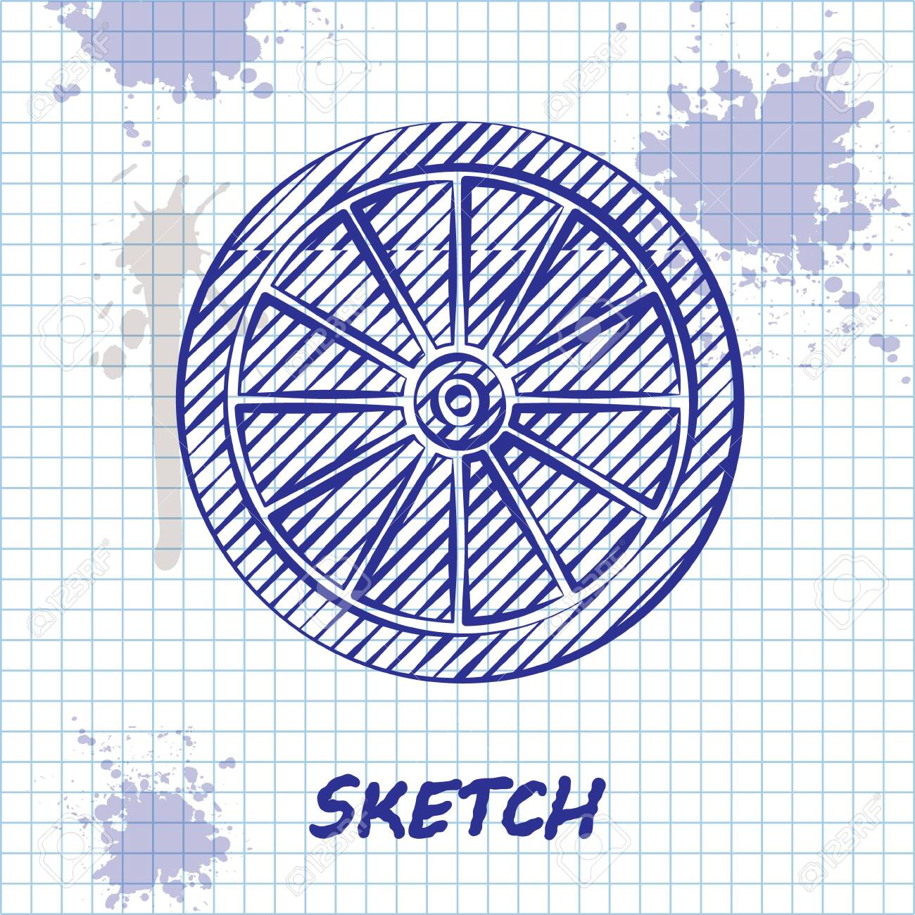 Sketch line Car wheel icon isolated on white background. Vector Illustration - 136864614
