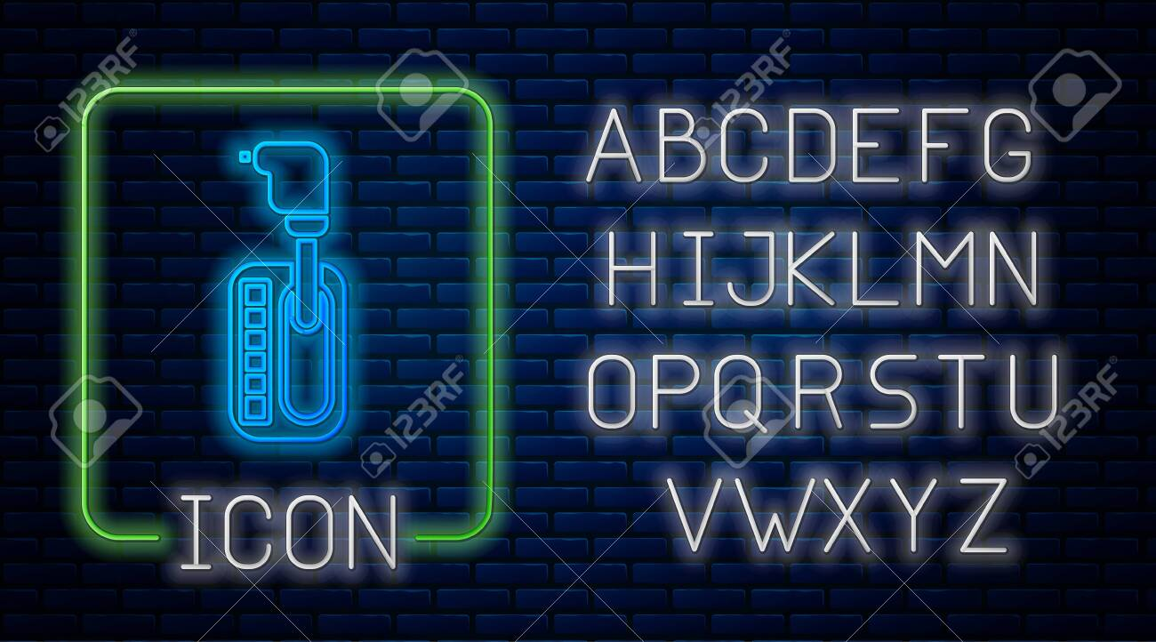 Glowing Neon Gear Shifter Icon Isolated On Brick Wall Background Royalty Free Cliparts Vectors And Stock Illustration Image 136860645