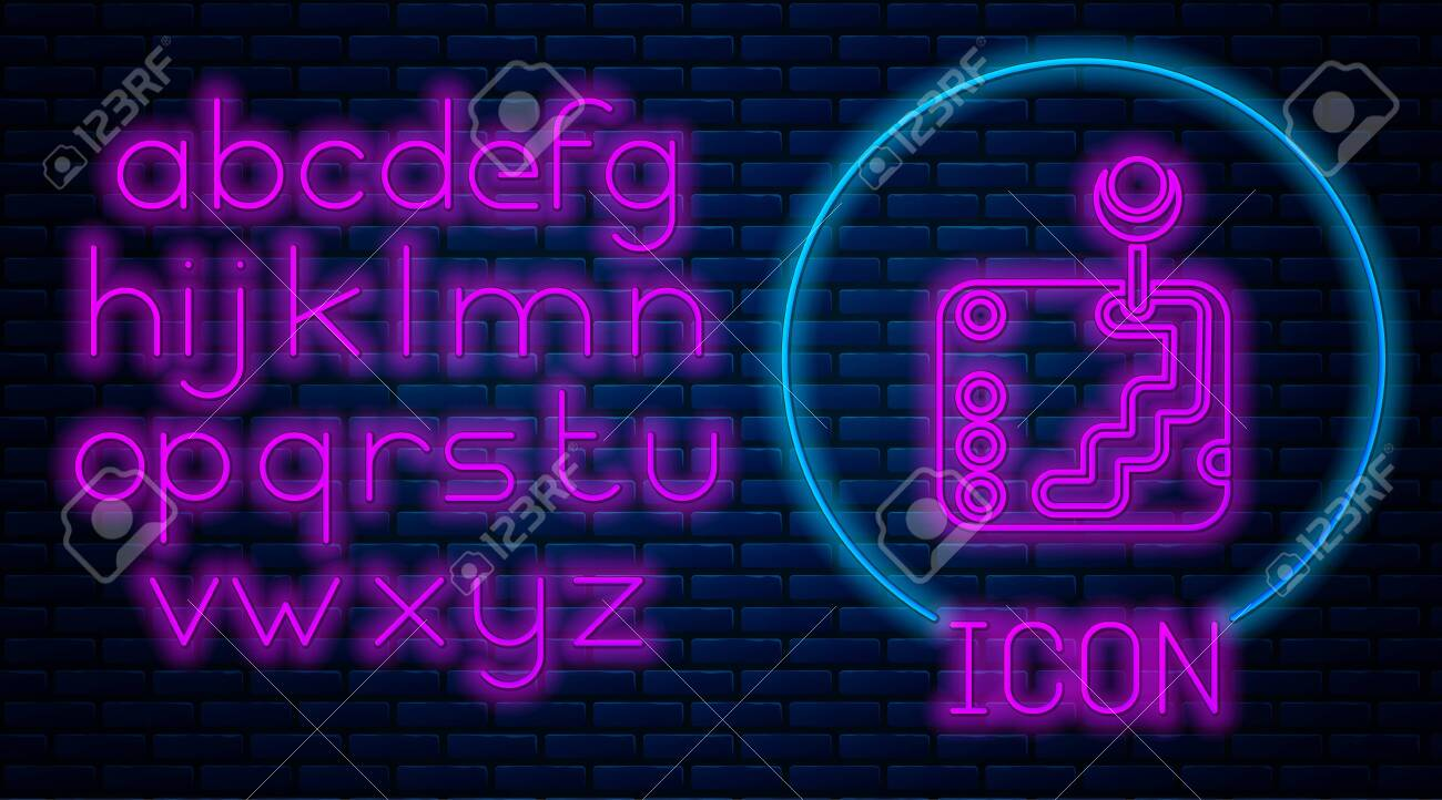 Glowing Neon Gear Shifter Icon Isolated On Brick Wall Background Royalty Free Cliparts Vectors And Stock Illustration Image 136995026