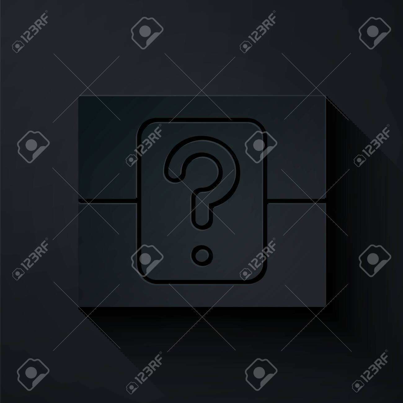 Paper cut Mystery box or random loot box for games icon isolated on black background. Question box. Paper art style. Vector Illustration - 137359733