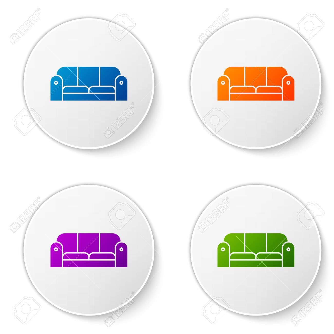 Color Sofa icon isolated on white background. Set icons in circle buttons. Vector Illustration - 138273493