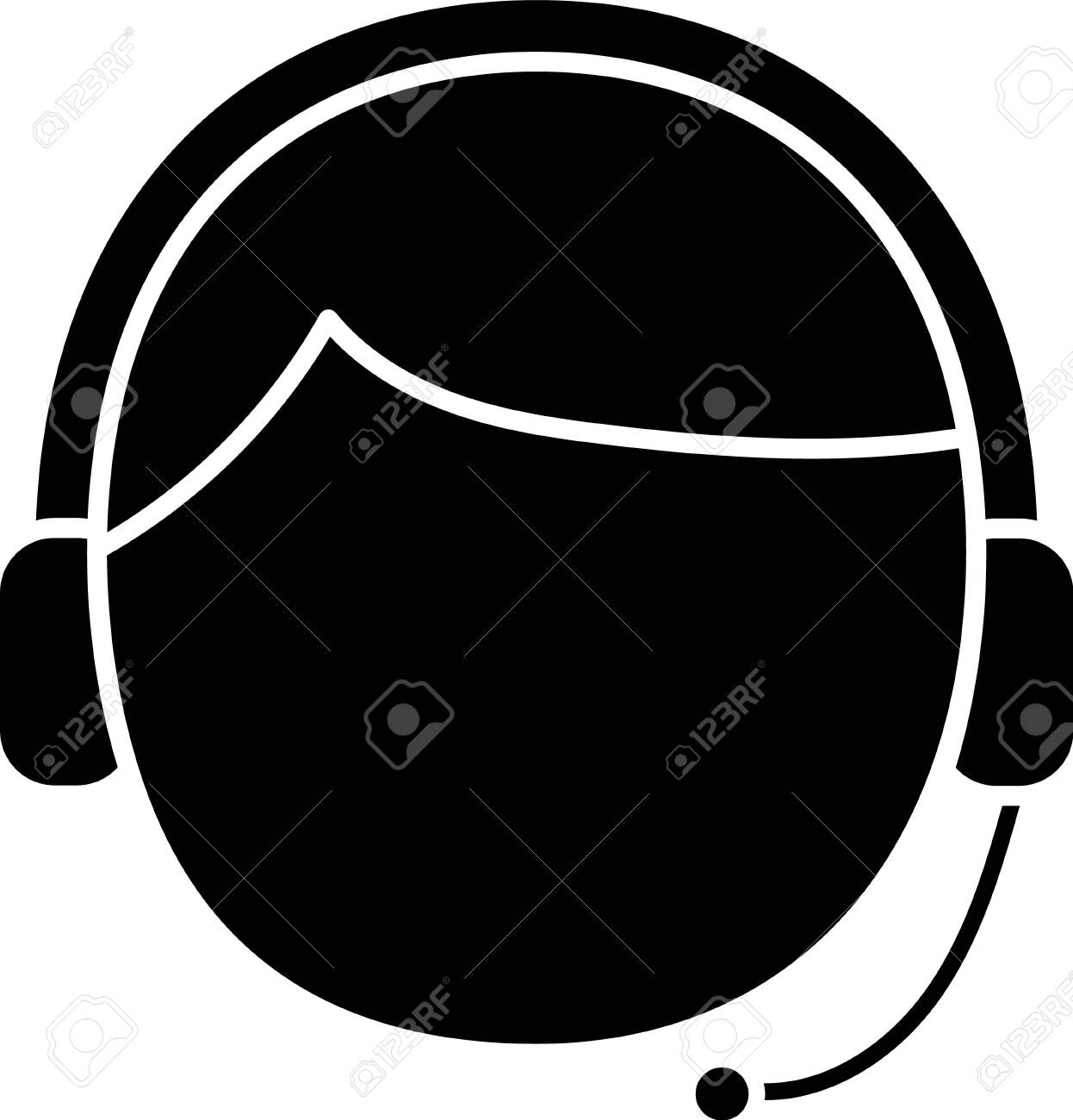 Black Man with a headset icon isolated on white background. Support operator in touch. Concept for call center, client support service. Vector Illustration - 138624439