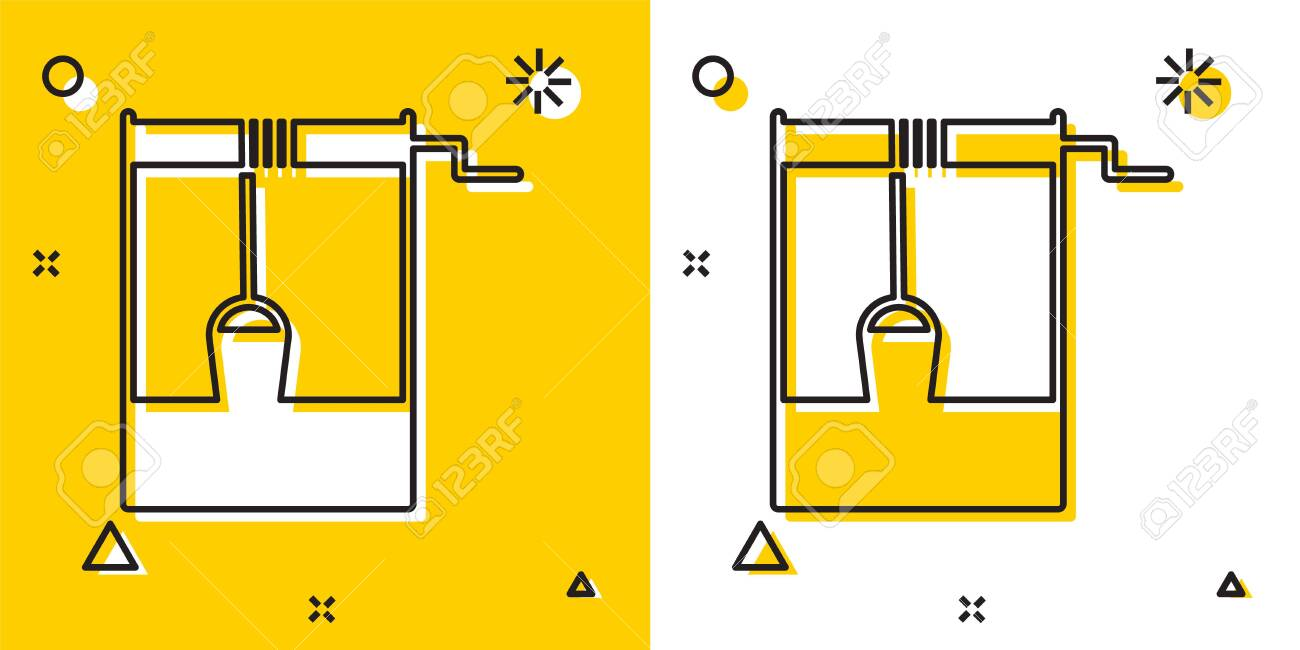 Black Well with a bucket and drinking water icon isolated on yellow and white background. Random dynamic shapes. Vector Illustration - 138966928