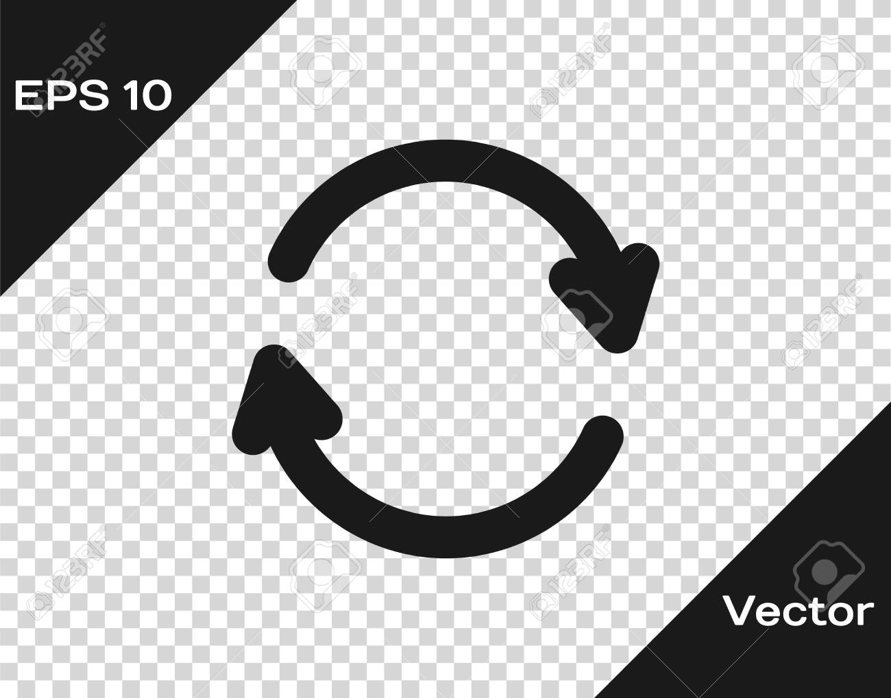 Black Refresh icon isolated on transparent background. Reload symbol. Rotation arrows in a circle sign. Vector Illustration - 146476319