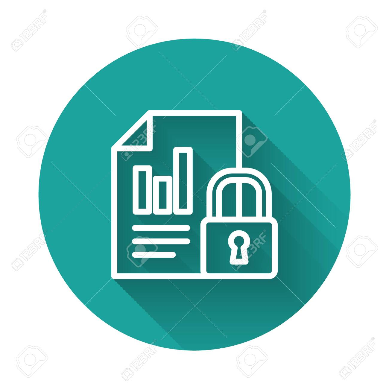 White line Document and lock icon isolated with long shadow. File format and padlock. Security, safety, protection concept. Green circle button. Vector Illustration - 147042725