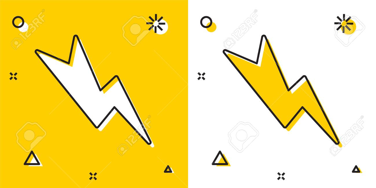 Black Lightning Bolt Icon Isolated On Yellow And White Background Royalty Free Cliparts Vectors And Stock Illustration Image 153692508
