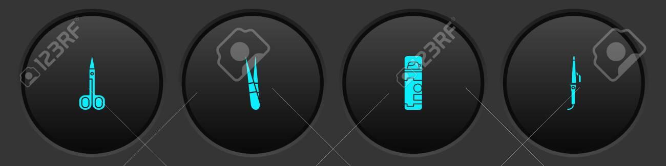 Set Scissors, Eyebrow tweezers, Shaving gel foam and Curling iron icon. Vector - 154458332