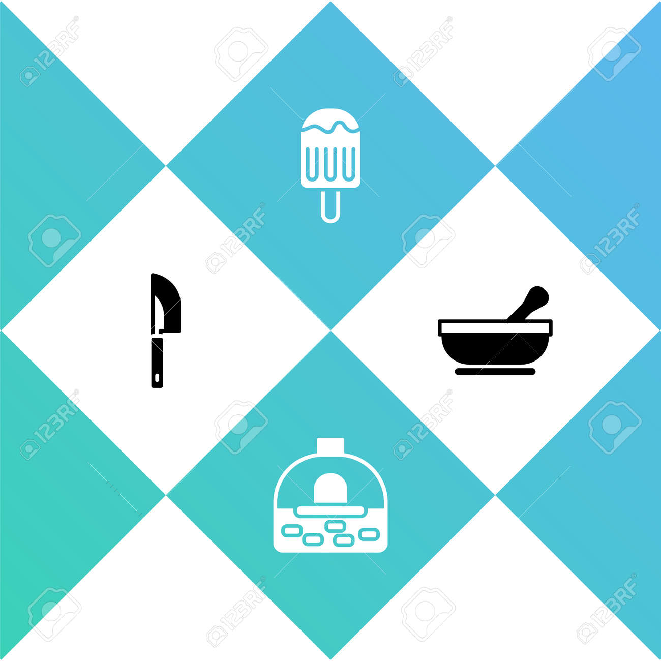 Set Knife, Brick stove, Ice cream and Mortar and pestle icon. Vector - 162113915