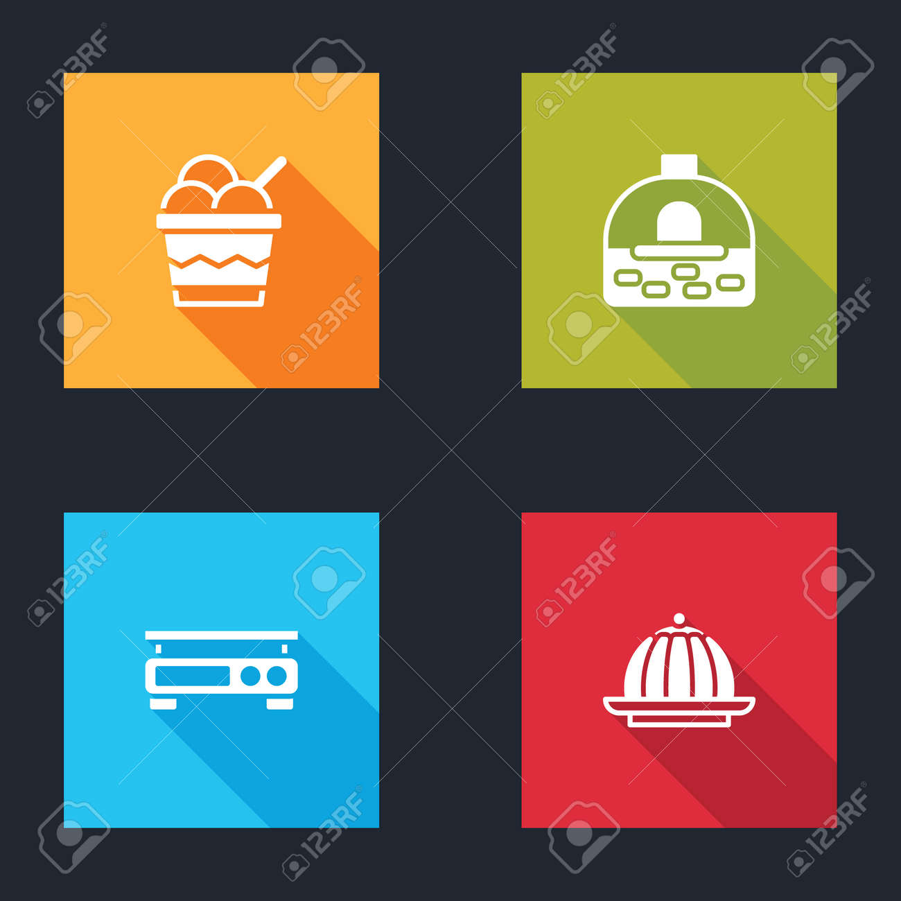 Set Ice cream in bowl, Brick stove, Electronic scales and Pudding custard icon. Vector - 162376568