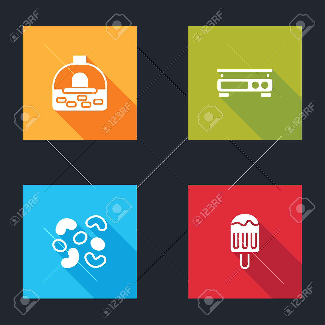 Set Brick stove, Electronic scales, Jelly candy and Ice cream icon. Vector - 162376481