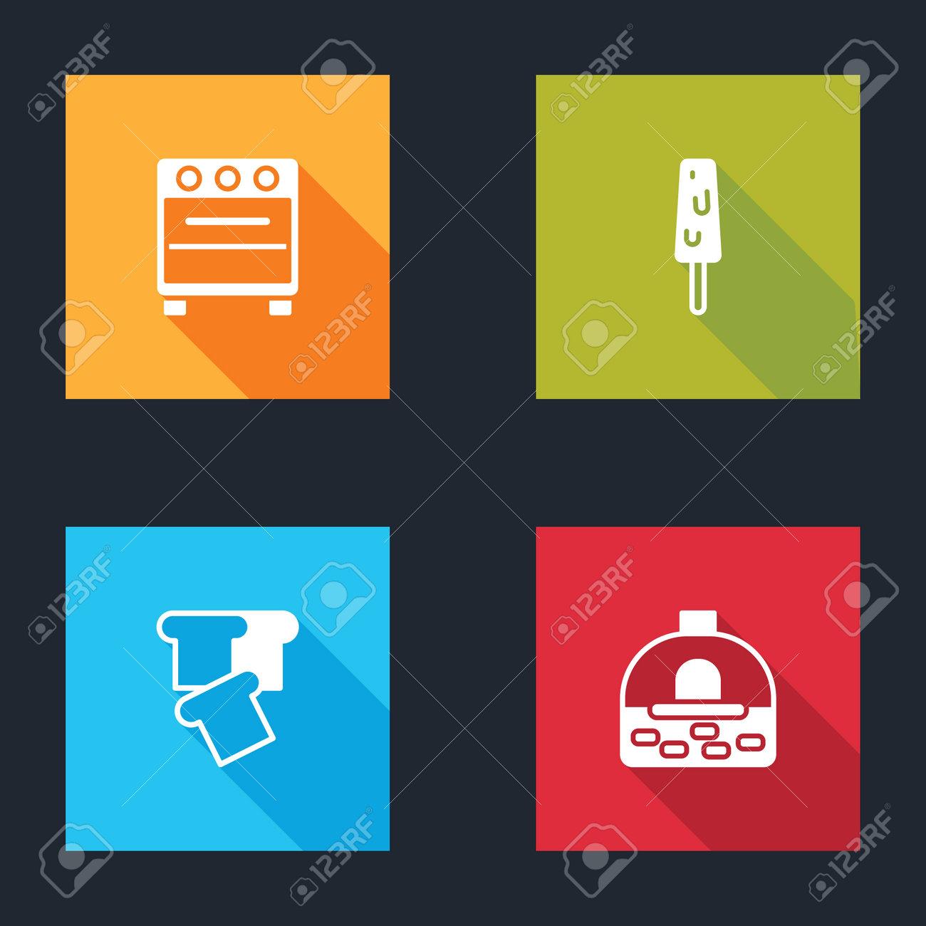 Set Oven, Ice cream, Bread toast and Brick stove icon. Vector - 162466640