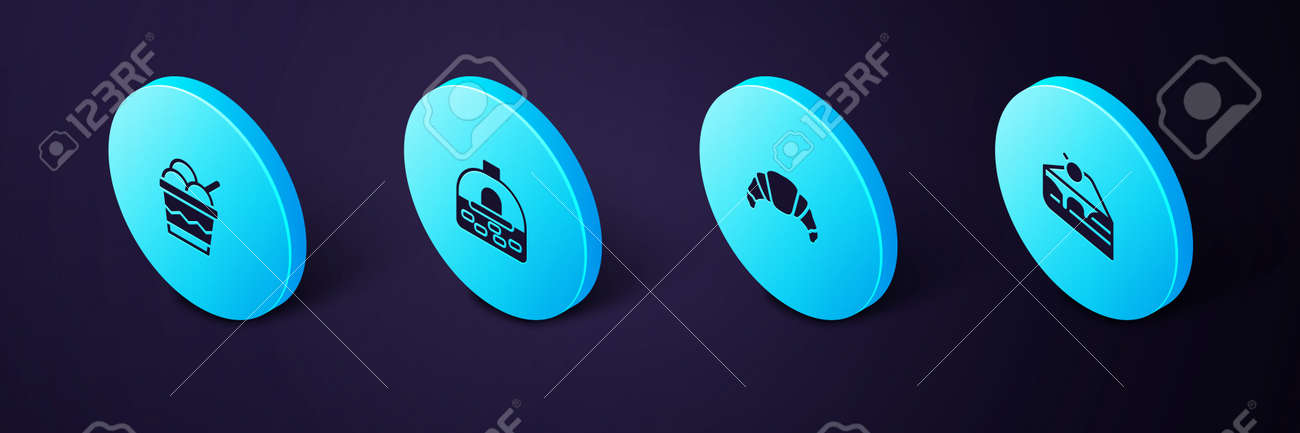 Set Isometric Piece of cake, Croissant, Brick stove and Ice cream in bowl icon. Vector - 162676161