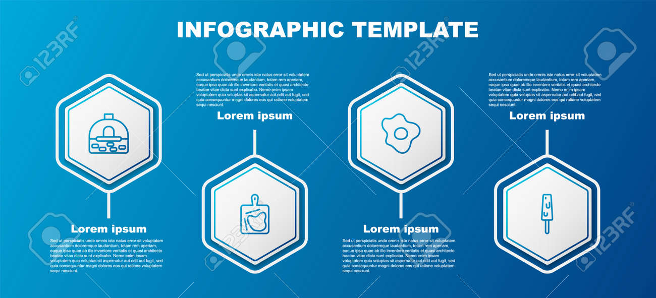 Set line Brick stove, Cutting board, Scrambled eggs and Ice cream. Business infographic template. Vector - 164603831