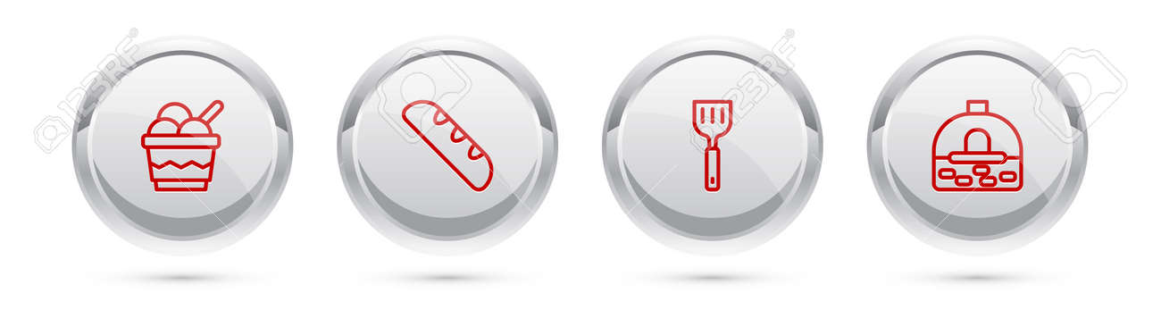 Set line Ice cream in bowl, French baguette bread, Spatula and Brick stove. Silver circle button. Vector - 164274561