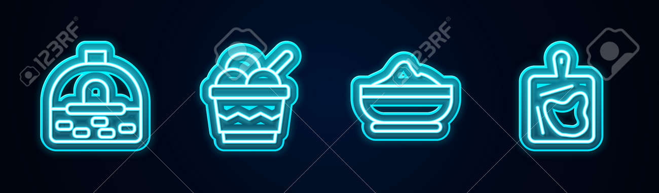 Set line Brick stove, Ice cream in bowl, Flour and Cutting board. Glowing neon icon. Vector - 164274575