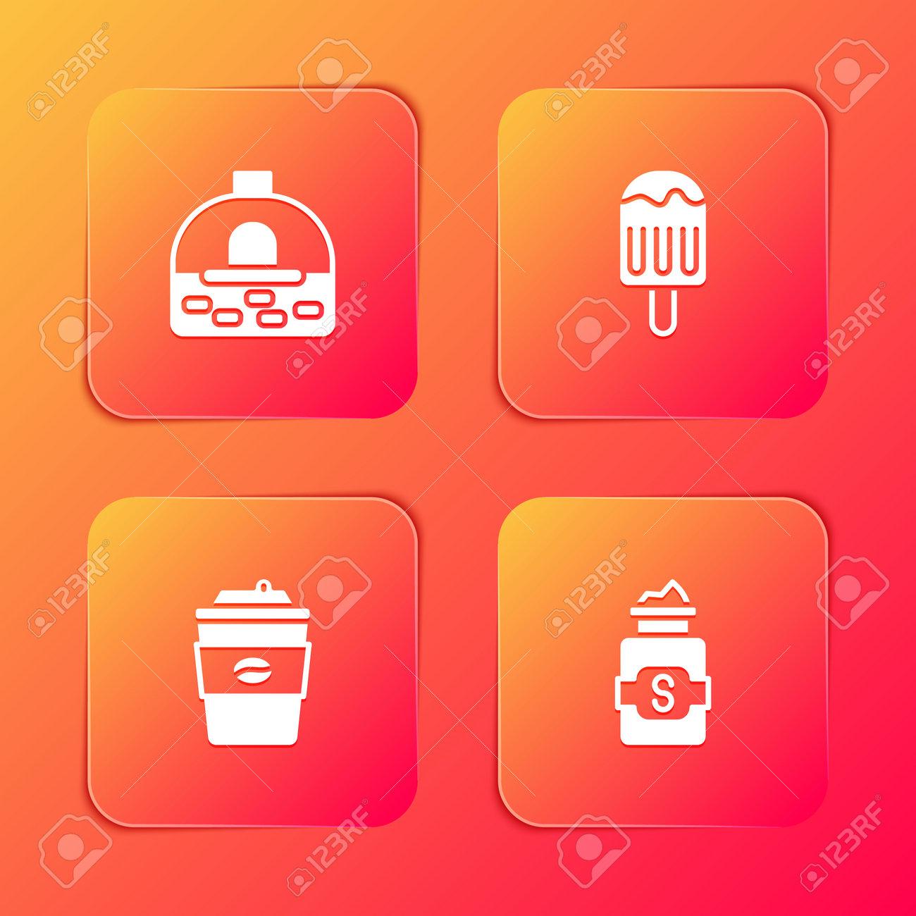 Set Brick stove, Ice cream, Coffee cup go and Jar sugar icon. Vector - 164008307