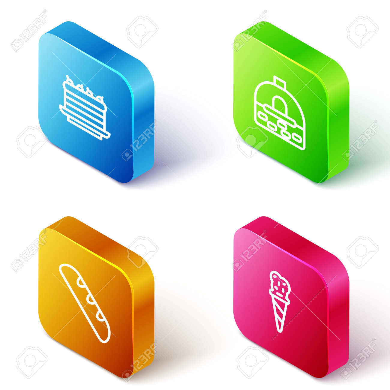 Set Isometric line Cake, Brick stove, French baguette bread and Ice cream in waffle cone icon. Vector - 163880131