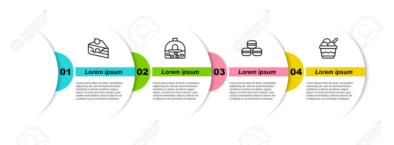 Set line Piece of cake, Brick stove, Macaron cookie and Ice cream in bowl. Business infographic template. Vector - 164425103