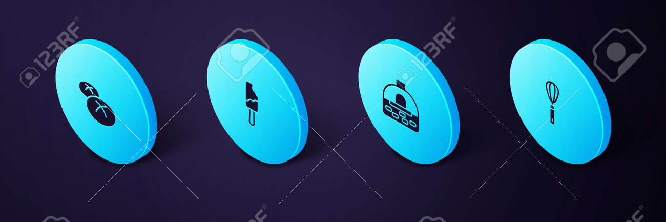 Set Isometric Kitchen whisk, Brick stove, Ice cream and Bread loaf icon. Vector - 164718786
