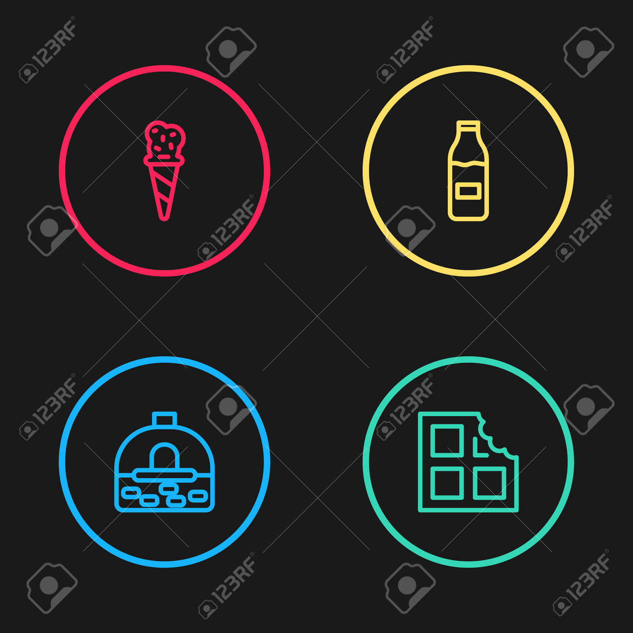 Set line Brick stove, Chocolate bar, Bottle with milk and Ice cream in waffle cone icon. Vector - 165312540