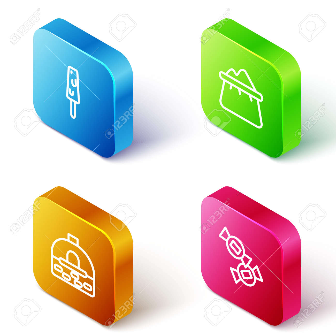 Set Isometric line Ice cream, Bag of flour, Brick stove and Candy icon. Vector - 165692487