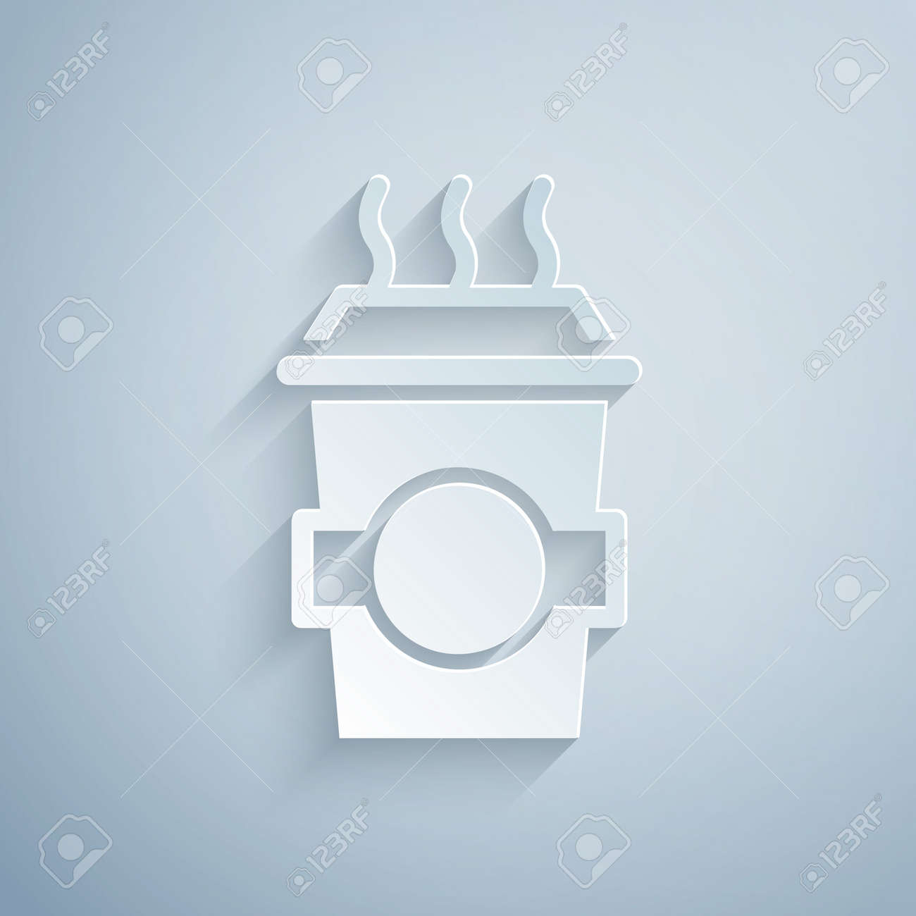 Paper cut Coffee cup to go icon isolated on grey background. Paper art style. Vector - 168618860