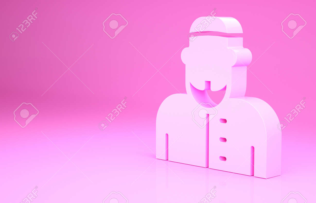 Pink Muslim man icon isolated on pink background. Minimalism concept. 3d illustration 3D render - 169797613