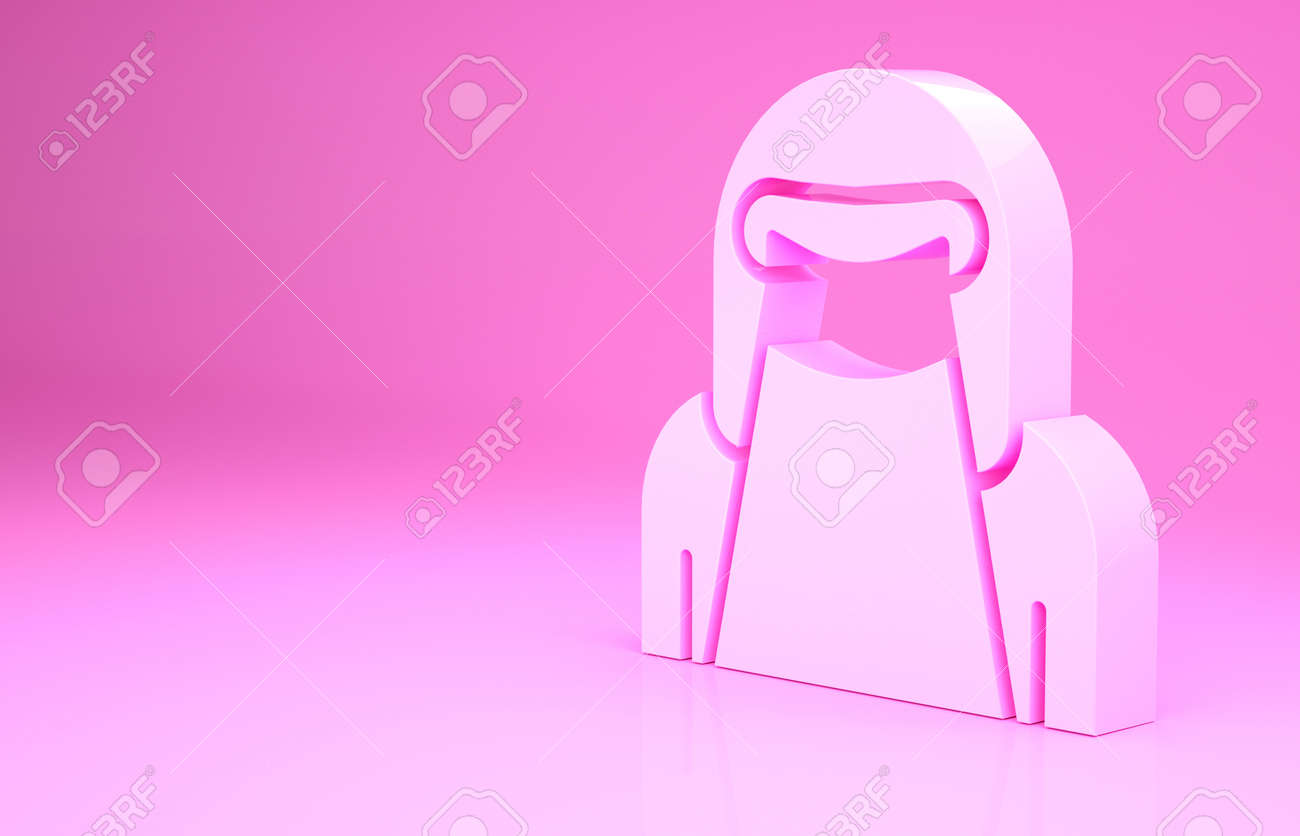Pink Muslim woman in niqab icon isolated on pink background. Minimalism concept. 3d illustration 3D render - 169797673