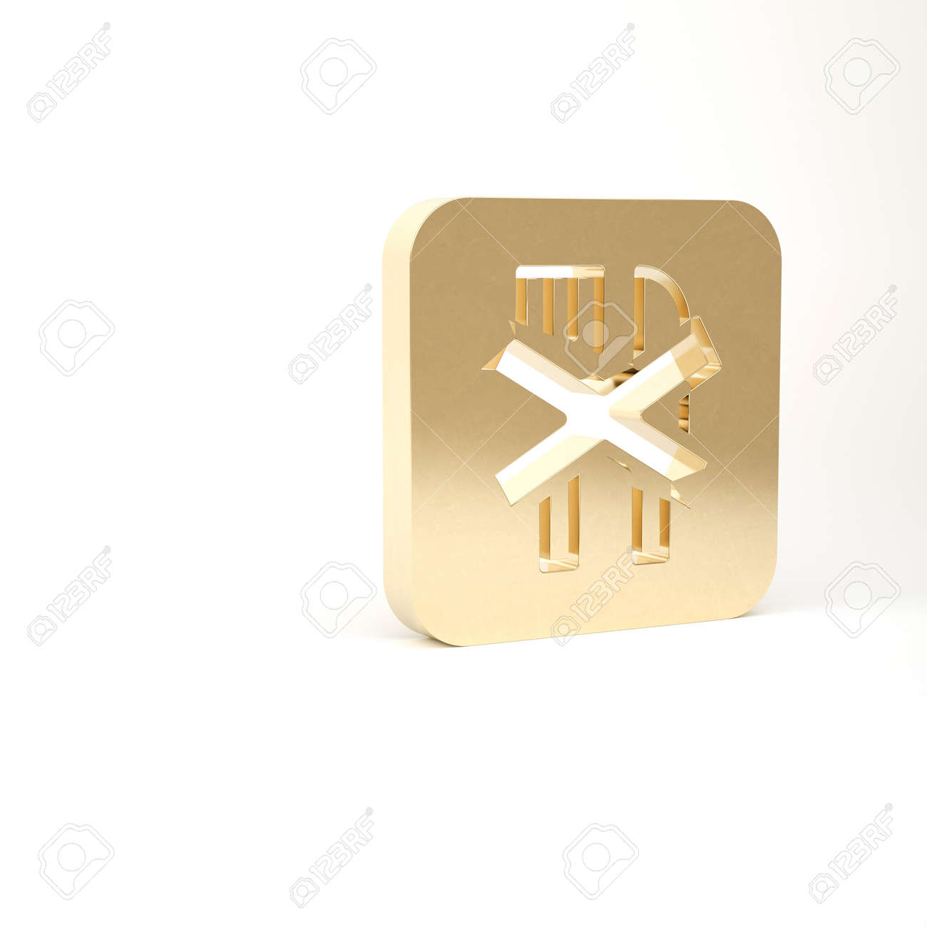 Gold Ramadan fasting icon isolated on white background. Religious fasting. 3d illustration 3D render - 169797686