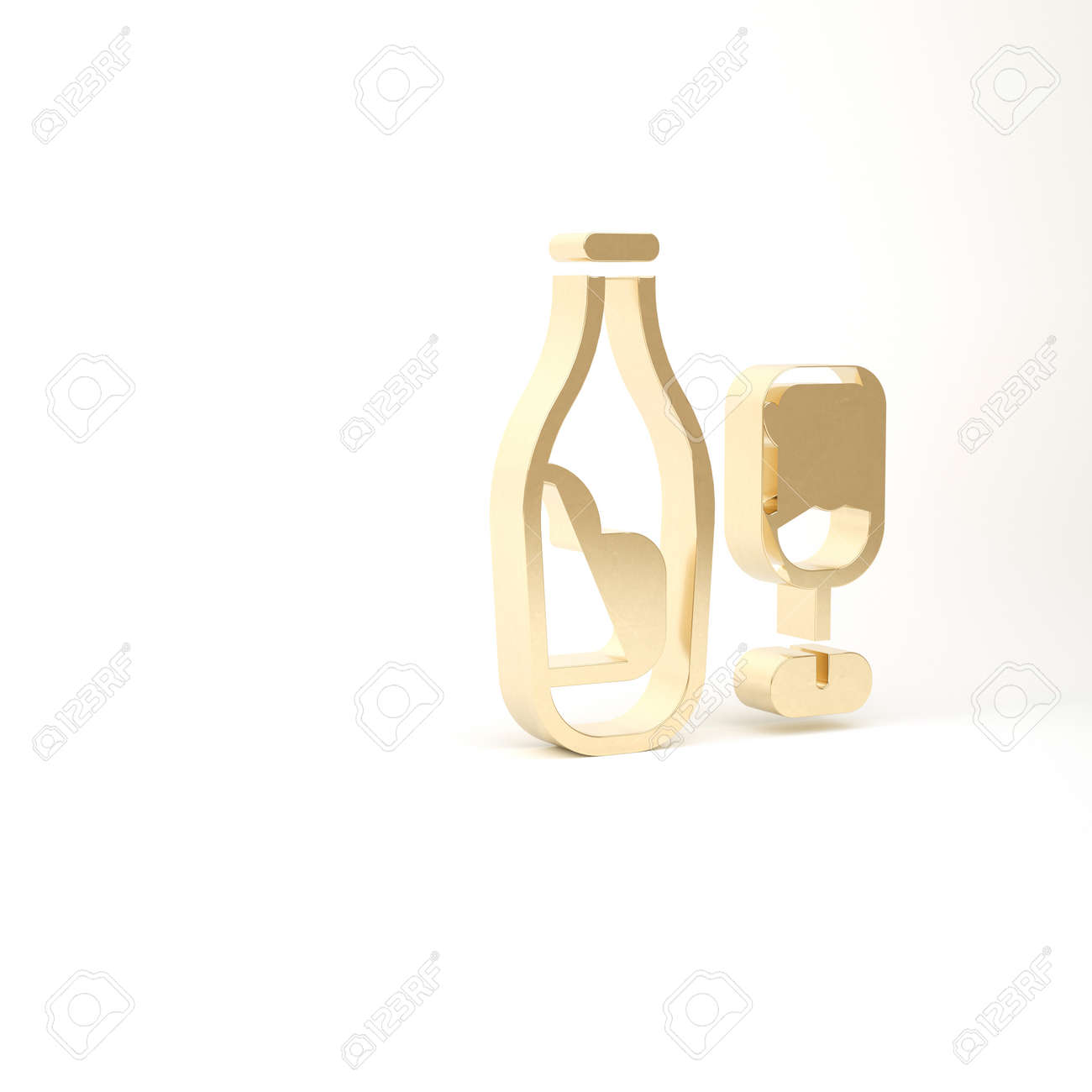 Gold Wine bottle with glass icon isolated on white background. 3d illustration 3D render - 169797697