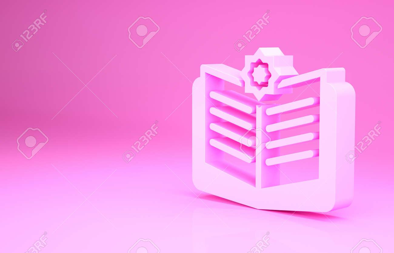 Pink Holy book of Koran icon isolated on pink background. Muslim holiday, Eid Mubarak, Eid al-fitr, Ramadan Kareem. Minimalism concept. 3d illustration 3D render - 169797701