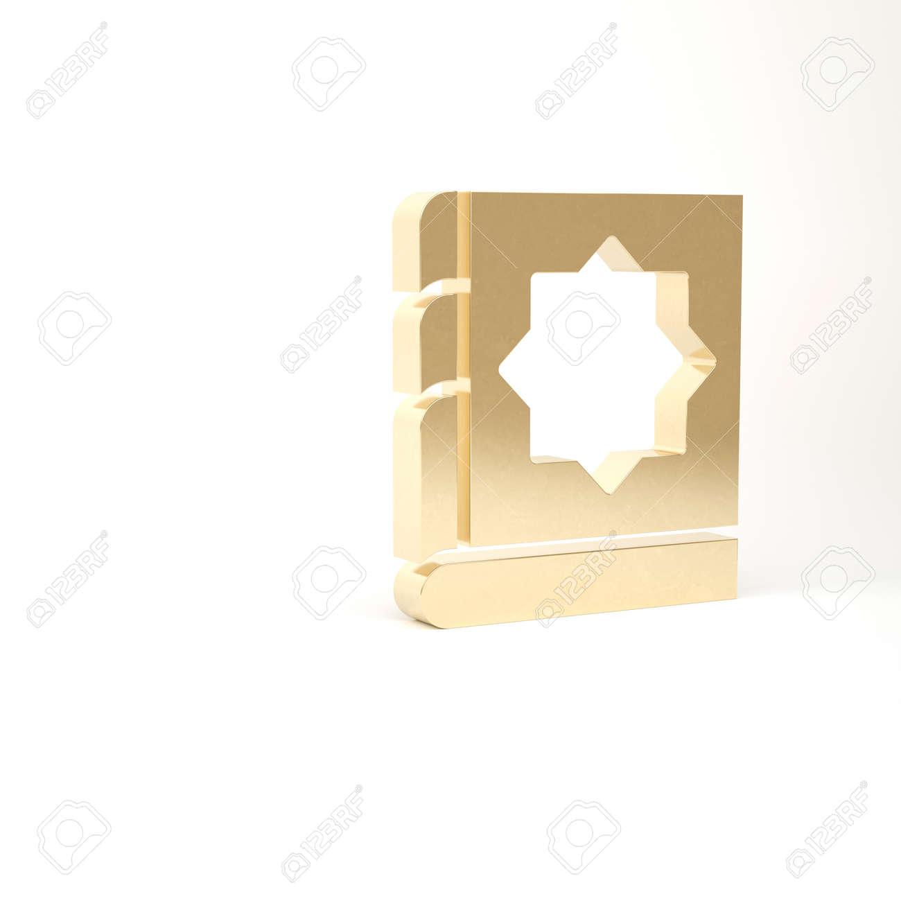 Gold Holy book of Koran icon isolated on white background. Muslim holiday, Eid Mubarak, Eid al-fitr, Ramadan Kareem. 3d illustration 3D render - 169797706