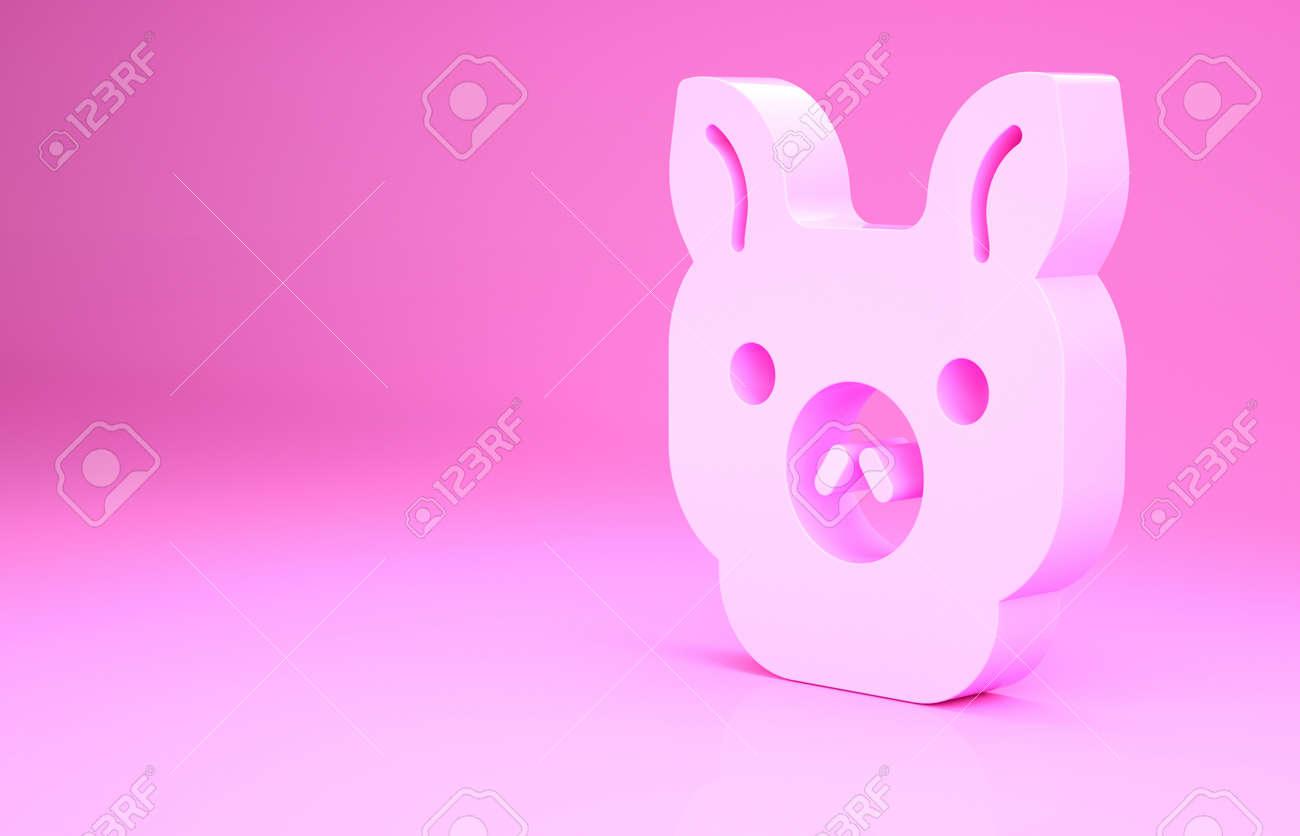 Pink Pig icon isolated on pink background. Animal symbol. Minimalism concept. 3d illustration 3D render - 169797723