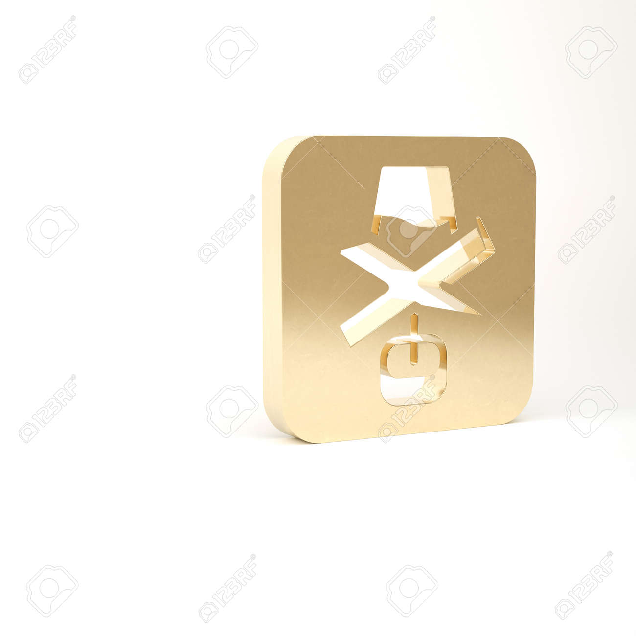 Gold No alcohol icon isolated on white background. Prohibiting alcohol beverages. Forbidden symbol with beer bottle glass. 3d illustration 3D render - 169797737