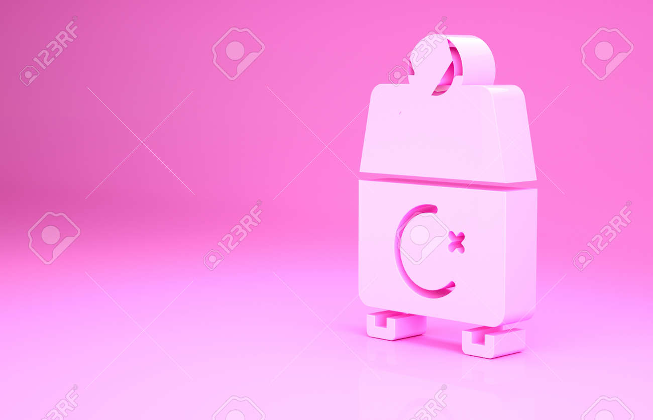 Pink Donate or pay your zakat as muslim obligatory icon isolated on pink background. Muslim charity or alms in ramadan kareem before eid al-fir. Minimalism concept. 3d illustration 3D render - 169797755